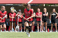 NEWTON, MA - MAY 14: Ellie Grefenstette #34 of Fairfield University brings the ball forward during NCAA Division I Women's Lacrosse Tournament first round game between Fairfield University and Boston College at Newton Campus Lacrosse Field on May 14, 2021 in Newton, Massachusetts.