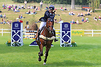 5th September 2021; Bicton Park, East Budleigh Salterton, Budleigh Salterton, United Kingdom: Bicton CCI 5* Equestrian Event; Pippa Funnell riding Billy Walk On celebrates a clear round and second place