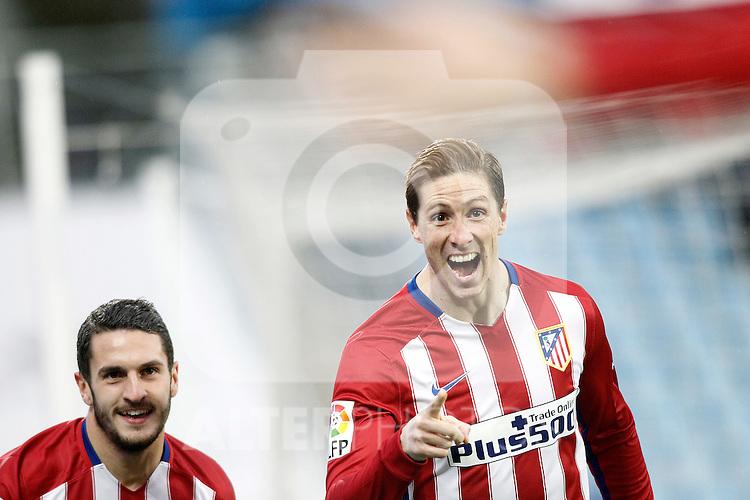 Atletico de Madrid's Fernando Torres (r) and Koke Resurrecccion celebrate goal during La Liga match. February 14,2016. (ALTERPHOTOS/Acero)