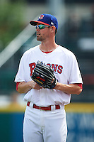 Buffalo Bisons pitcher Greg Burke (10) in the bullpen during a game against the Columbus Clippers on July 19, 2015 at Coca-Cola Field in Buffalo, New York.  Buffalo defeated Columbus 4-3 in twelve innings.  (Mike Janes/Four Seam Images)