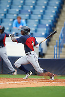 EP Reese (1) of North Davidson High School in Lexington, North Carolina playing for the Cleveland Indians scout team during the East Coast Pro Showcase on July 28, 2015 at George M. Steinbrenner Field in Tampa, Florida.  (Mike Janes/Four Seam Images)