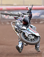 Adam Ellis takes a tumble - Lakeside Hammers Press & Practice Day at the Arena Essex Raceway, Pufleet - 20/03/15 - MANDATORY CREDIT: Rob Newell/TGSPHOTO - Self billing applies where appropriate - 0845 094 6026 - contact@tgsphoto.co.uk - NO UNPAID USE
