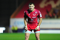 Steffan Hughes of Scarlets during the European Rugby Challenge Cup Round 1 match between the Scarlets and London Irish at Parc Y Scarlets in Llanelli, Wales, UK. Saturday 16th November 2019