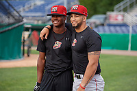 Batavia Muckdogs Dalvy Rosario (left) and Igor Baez (right) during practice on June 12, 2019 at Dwyer Stadium in Batavia, New York.  (Mike Janes/Four Seam Images)