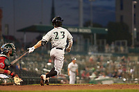 Dayton Dragons Matt McLain (23) bats during a game against the Fort Wayne TinCaps on August 25, 2021 at Parkview Field in Fort Wayne, Indiana.  (Mike Janes/Four Seam Images)