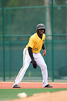 FCL Pirates Gold Rodolfo Nolasco (15) leads off first base during a game against the FCL Pirates Gold on July 2, 2021 at Pirate City in Bradenton, Florida.  (Mike Janes/Four Seam Images)