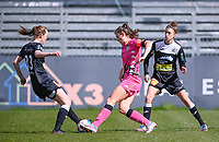 Loes Van Mullem (33) of Eendracht Aalst pictured in a duel with Noemie Fourdin (11) of Sporting Charleroi and Justine Blave (22) of Eendracht Aalst during a female soccer game between Eendracht Aalst and Sporting Charleroi on the 18 th and last matchday before the play offs of the 2020 - 2021 season of Belgian Scooore Womens Super League , Saturday 27 th of March 2021  in Aalst , Belgium . PHOTO SPORTPIX.BE | SPP | DAVID CATRY