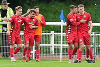 Reece Myles-Meekums of Worthing scores the second Goal and celebrates during Enfield Town vs Worthing, Pitching In Isthmian League Premier Division Football at the Queen Elizabeth II Stadium on 16th October 2021