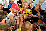 Baltimore, MD- May 16: Trainer Doug O'Neill of Kentucky Derby Winner I'll Have Another is swamped by reporters at the 137th Preakness Post Party at Pimlico Race Course in Baltimore, MD on 05/16/12. (Ryan Lasek/ Eclipse Sportswire)