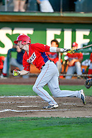 Nick Flair (19) of the Orem Owlz at bat against the Ogden Raptors in Pioneer League action at Lindquist Field on July 29, 2016 in Ogden, Utah. Orem defeated Ogden 8-5. (Stephen Smith/Four Seam Images)