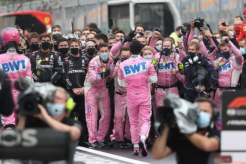 15th November 2020; Istanbul Park, Istanbul, Turkey; FIA Formula One World Championship 2020, Grand Prix of Turkey, Race Day;  11 Sergio Perez MEX, BWT Racing Point F1 Team celebrates his 2nd placed finish