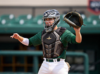 Mosley Dolphins catcher Coleman Rowan (13) during practice before the 42nd Annual FACA All-Star Baseball Classic on June 5, 2021 at Joker Marchant Stadium in Lakeland, Florida.  (Mike Janes/Four Seam Images)