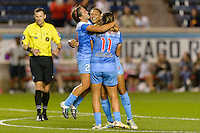 Chicago, IL - Saturday Sept. 24, 2016: Danielle Colaprico, Cara Walls goal celebration, Sofia Huerta during a regular season National Women's Soccer League (NWSL) match between the Chicago Red Stars and the Washington Spirit at Toyota Park.