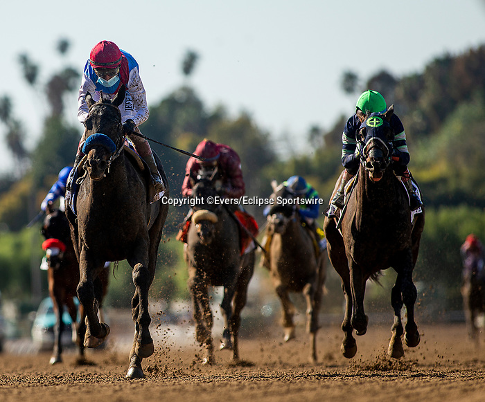 March 06, 2021: Medina Spirt with John Velazquez runs second in the San Felipe Stakes at Santa Anita Park in Arcadia, California on March 06, 2021. Evers/Eclipse Sportswire/CSM