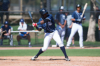 San Diego Padres shortstop Esteury Ruiz (3) at bat during an Instructional League game against the Los Angeles Dodgers at Camelback Ranch on September 25, 2018 in Glendale, Arizona. (Zachary Lucy/Four Seam Images)