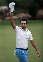 29th August 2021; Owens Mills, Maryland, USA;  Patrick Cantlay (USA) acknowledges the crowd after sinking the winning putt on the 18th green during the final round of the BMW Championship on August 29, 2021, at Caves Valley Golf Club in Owings Mills, MD.
