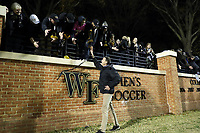 WINSTON-SALEM, NC - DECEMBER 07: Head coach Bobby Muuss of Wake Forest University celebrates with fans during a game between UC Santa Barbara and Wake Forest at W. Dennie Spry Stadium on December 07, 2019 in Winston-Salem, North Carolina.