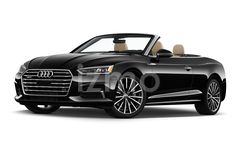 Stock pictures of low aggressive front three quarter view of a 2018 Audi A5 Cabriolet Premium Plus 2 Door Convertible