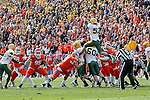 North Dakota State Bison linebacker Travis Beck (52) tries to block a field goal attempt during the FCS Championship game between the North Dakota State Bison and the Sam Houston State Bearkats at the FC Dallas Stadium in Frisco, Texas. North Dakota defeats Sam Houston 39 to 13..