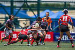 Japan plays Singapore during the ARFU Asian Rugby 7s Round 1 on August 23, 2014 at the Hong Kong Football Club in Hong Kong, China. Photo by Xaume Olleros / Power Sport Images