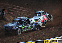 Dec. 11, 2011; Chandler, AZ, USA;  LOORRS pro lite driver Casey Currie (2) and pro buggy driver Cameron Steele (17) during the Lucas Oil Challenge Cup at Firebird International Raceway. Mandatory Credit: Mark J. Rebilas-