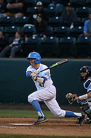 Daniel Rosica (47) of the UCLA Bruins bats against the North Carolina Tar Heels at Jackie Robinson Stadium on February 20, 2016 in Los Angeles, California. UCLA defeated North Carolina, 6-5. (Larry Goren/Four Seam Images)