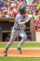 Cedar Rapids Kernels shortstop Jordan Gore (5) runs to first base during a Midwest League game against the Wisconsin Timber Rattlers on August 6, 2017 at Fox Cities Stadium in Appleton, Wisconsin.  Cedar Rapids defeated Wisconsin 4-0. (Brad Krause/Four Seam Images)