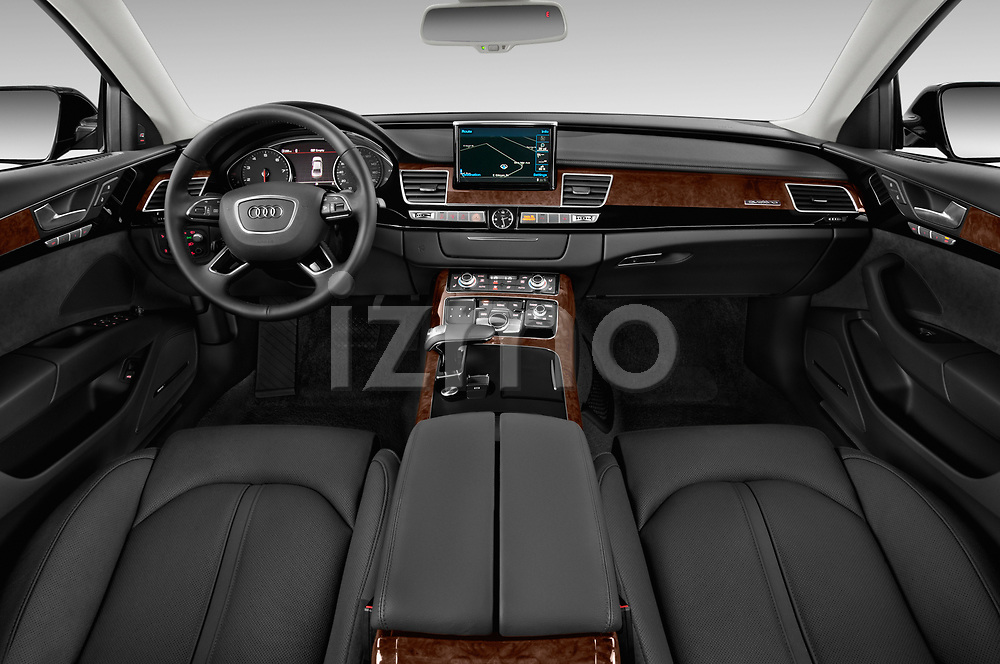 Stock photo of straight dashboard view of 2017 Audi A8 3.0T LWB quattro tiptronic 4 Door Sedan
