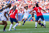 PARIS,  - JUNE 16: Christen Press #23 strikes a free kick during a game between Chile and USWNT at Parc des Princes on June 16, 2019 in Paris, France.