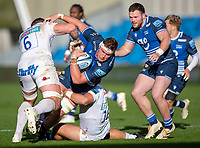 3rd October 2021; AJ Bell stadium, Eccles, Greater Manchester, England: Gallagher Premiership Rugby, Sale v Exeter ;  Cobus Wiese of Sale Sharks is tackled by  Dave Ewers of Exeter Chiefs