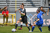 Justine Blave (22) of Eendracht Aalst pictured in a duel with Fleur Pauwels (66) of KRC Genk during a female soccer game between Eendracht Aalst and Racing Genk on the 10 th and last matchday of play off 2 of the 2020 - 2021 season of Belgian Scooore Womens Super League , Saturday 29 st of May 2021  in Aalst , Belgium . PHOTO SPORTPIX.BE | SPP | DAVID CATRY