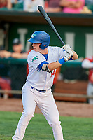 Dillon Paulson (14) of the Ogden Raptors bats against the Billings Mustangs at Lindquist Field on August 18, 2018 in Ogden, Utah. Billings defeated Ogden 6-4. (Stephen Smith/Four Seam Images)