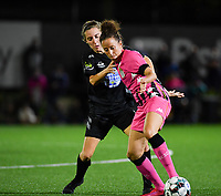 Woluwe's Selina Gijsbrechts (11) pictured in a fight for the ball with midfielder Ines Dhaou of Sporting Charleroi during a female soccer game between Sporting Charleroi and FC Femina White Star Woluwe on the second matchday of the 2020 - 2021 season of Belgian Scooore Women s SuperLeague , friday 4 th of September 2020  in Marcinelle , Belgium . PHOTO SPORTPIX.BE | SPP | DAVID CATRY