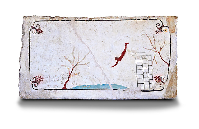 """Greek Fresco on the inside of Tomb of  the Diver  [La Tomba del Truffatore]. This panel is from the lid of the tomb and shows a  diving from a column into water. The column represents the border of thye known world and therefore the limit of man's knowledge.  The dive represents the passage form this world to the next. The tomb is painted with the true fresco technique and its importance lies in being """"the only example of Greek painting with figured scenes dating from the Orientalizing, Archaic, or Classical periods to survive in its entirety.  Paestrum, Andriuolo.  (480-470 BC  )"""