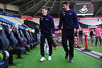 Harry Wilson (left) of Derby County arrives for the Sky Bet Championship match between Swansea City and Derby County at the Liberty Stadium in Swansea, Wales, UK. Wednesday 01 May 2019