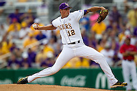 LSU Tigers pitcher Kevin Gausman #12 delivers during the continuation of their suspended NCAA Super Regional baseball game against Stony Brook on June 9, 2012 at Alex Box Stadium in Baton Rouge, Louisiana. LSU defeated Stony Brook 5-4 in 12 innings. (Andrew Woolley/Four Seam Images)