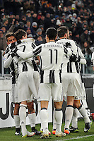 Calcio, Ottavi di finale di Tim Cup: Juventus vs Atalanta. Torino, Juventus Stadium, 11 gennaio 2017.<br /> Juventus' Paulo Dybala, left, celebrates with teammates after scoring during the Italian Cup football round of 16 match between Juventus and Atalanta at Turin's Juventus Stadium, 8 January 2017. Juventus won 3-2 to join the quarter finals.<br /> UPDATE IMAGES PRESS/Manuela Viganti