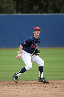 Phil Caufield (1) of the Loyola Marymount Lions in the field during a game against the Washington State Cougars at Page Stadium on February 26, 2017 in Los Angeles, California. Loyola defeated Washington State, 7-4. (Larry Goren/Four Seam Images)