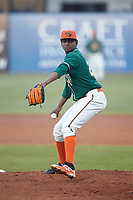 Greensboro Grasshoppers starting pitcher Edward Cabrera (28) in action against the Augusta GreenJackets at First National Bank Field on April 10, 2018 in Greensboro, North Carolina.  The GreenJackets defeated the Grasshoppers 5-0.  (Brian Westerholt/Four Seam Images)