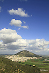 Israel, a view of Mount Tabor at the heart of Jezreel Valley, Mount Deborah is on the left