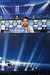 FC Barcelona´s player Cesc Fabregas during a press conference at the Vicente Calderon stadium in Madrid, Spain. Atletico de Madrid will face FC Barcelona in the second leg quarterfinal Champions League soccer match.  April 8, 2014. (ALTERPHOTOS/Victor Blanco)