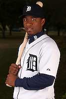 February 27, 2010:  Catcher Robinson Diaz (66) of the Detroit Tigers poses for a photo during media day at Joker Marchant Stadium in Lakeland, FL.  Photo By Mike Janes/Four Seam Images