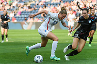 BRIDGEVIEW, IL - JULY 18: Celia Jimenez Delgado #13 of the OL Reign dribbles the ball as Tatumn Milazzo #23 of the Chicago Red Stars defends during a game between OL Reign and Chicago Red Stars at SeatGeek Stadium on July 18, 2021 in Bridgeview, Illinois.