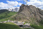 Passo Pordoi below, Dolomites, northern Italy, Europe.