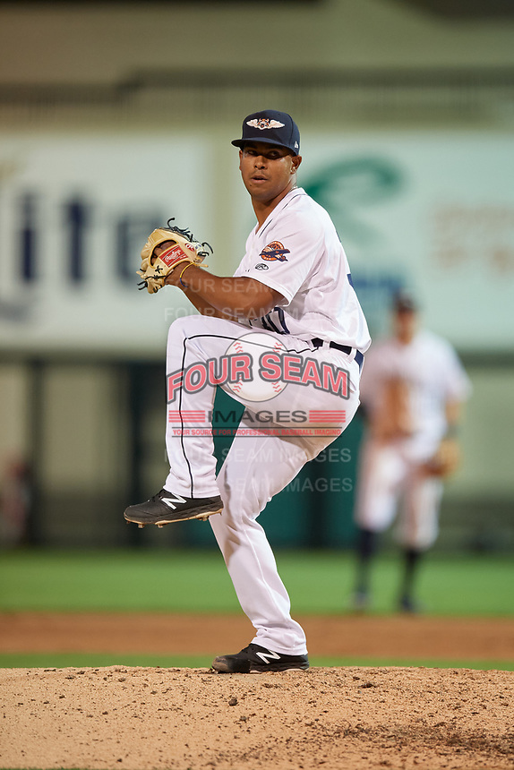 Lakeland Flying Tigers relief pitcher Wladimir Pinto (30) during a Florida State League game against the Palm Beach Cardinals on April 17, 2019 at Publix Field at Joker Marchant Stadium in Lakeland, Florida.  Lakeland defeated Palm Beach 1-0.  (Mike Janes/Four Seam Images)