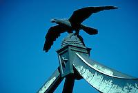 Eagle Gate Archway over State Street, sculpture, ornamental details. Salt Lake City Utah.