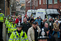 Saturday 05 April 2014<br /> Pictured: White pride supporters are contained and marched off by police<br /> Re: White Pride and Anti Fascist groups protest in Swansea City Cebtre