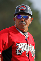 Carolina Mudcats manager Luis Salazar (4) coaching third base during game one of a doubleheader against the Myrtle Beach Pelicans at Ticketreturn.com Field at Pelicans Ballpark on June 6, 2015 in Myrtle Beach, South Carolina. Carolina defeated Myrtle Beach 1-0. (Robert Gurganus/Four Seam Images)