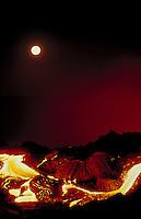 Moon with lava flow at Kilauea volcano, Big Island
