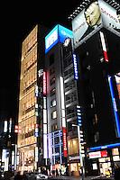 JAPANESE ACTOR, KEN WATANABE ADVERT IN ON TOP OF CITIBANK BUILDING IN GINZA, TOKYO